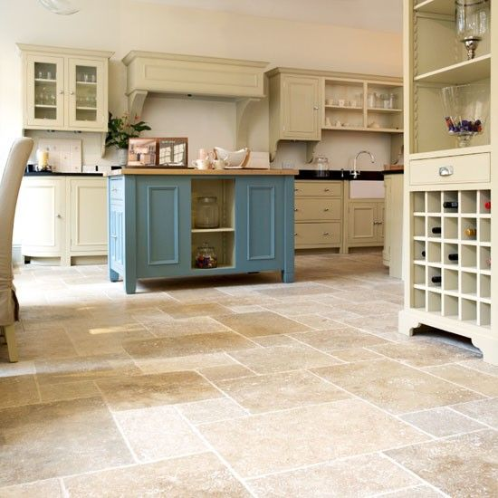 country kitchen stone floor